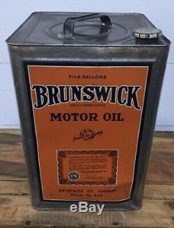Rare Vintage Brunswick Huile Moteur 5 Gal Tin Can Gas Service Station Publicité
