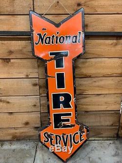 Rare Vintage Early Gas Station Service National Tire 1900 Pancarte De Métal