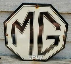 Service Automobile Vintage Mg Porcelain Gas Oil Pump Station Sign Angleterre Rare