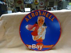 Service De Aeroshell Gas Oil Porcelain Aviation Pinup Station De Pompage Connexion