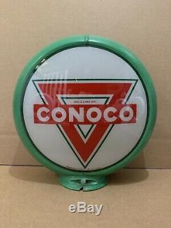 Service De Conoco Pompe À Gaz Globe Lumière Vintage Lentille En Verre Garage Station Moteur