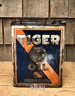 Service De Friperies Tiger Oil Gamble Station 1 Gallon Slim Can