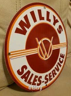 Service De Jeep Overland Gas Porcelaine Vintage Willy Station Concessionnaire Signe