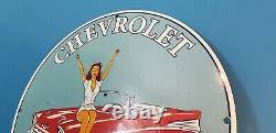 Service De Vintage Chevrolet Porcelain Station Concessionnaire Pin Up Girl Pump Sign