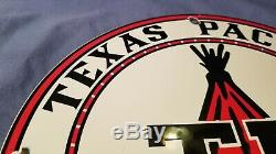 Service De Vintage Texas Pacific Motor Oil Porcelain Gas Station De Pompage Plaque Annonce Se Connecter