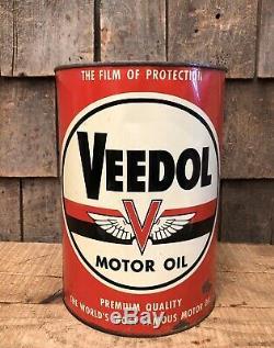 Service De Vintage Veedol Huile Moteur Tide Eau Gas Station 5 Qt Métal Can Sign