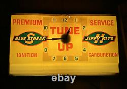 Service Vintage Blue Streak Jiffy Kits D'allumage Lumière Horloge Signe Station