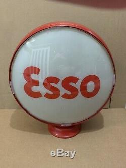 Service Vintage Pompe Esso Gas Globe Lumière Lentille En Verre Garage Station Tiger 2