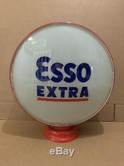 Service Vintage Programme Esso Extra Pompe À Gaz Globe Lumière Lentille En Verre Garage Station Tiger
