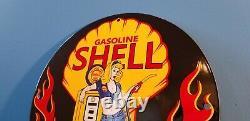 Service Vintage Shell Essence Porcelaine Station Pin Up Girl Flames Sign