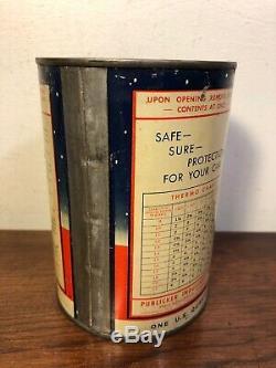 Service Vintage Thermo Anti Gel Gaz Qt Pleine Station Snowman Huile 40s Tin Can