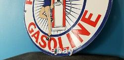 Signe Américain De Pompe De Station D'essence De Porcelaine D'essence De Couronne Rouge Vintage