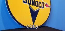Signe Bleu Vintage De Support De Plaque De Plaque De Plaque De Pompage De Station-service De Porcelaine De Sunoco D'essence