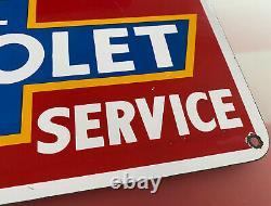 Signe De Service De Porcelaine De Chevrolet Vintage, Station D'essence, Plaque De Pompe, Huile À Moteur