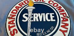 Signe Standard Vintage De Plaque De Plaque De Pompe De Station-service De Porcelaine D'essence