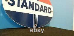Signe Standard Vintage De Pompe De Torche De Station D'essence De Porcelaine D'essence