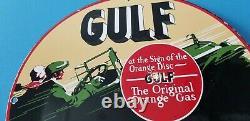 Signe Vintage D'huile À Moteur De Plaque D'huile De Moteur De Station D'essence De Golfe