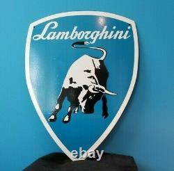 Signe Vintage De Concessionnaire De Pompe De Station-service De Lamborghini Porcelaine Lourde De Station D'essence