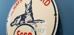 Signe Vintage De Plaque De Plaque De Pompe De Station D'assistance De Chien De Garde D'essence D'essence D'esso