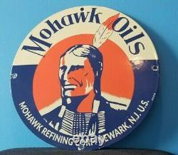 Signe Vintage De Plaque De Plaque De Pompe De Station D'essence Mohawk De Porcelaine De Gaz