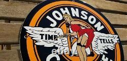 Signe Vintage De Plaque De Plaque De Pompe De Station-service De Porcelaine D'essence De Johnson