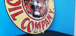 Signe Vintage De Plaque De Pompe De Station D'essence Automatique De Gaz De Porcelaine De Gilmore
