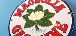 Signe Vintage De Plaque De Pompe De Station D'essence De Gaz De Porcelaine De Magnolia