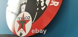 Signe Vintage De Pompe D'agent D'huile À Moteur De Gaz De Porcelaine De Texaco
