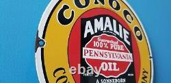 Signe Vintage De Pompe De Station D'essence D'amalie De Porcelaine D'essence D'amalie
