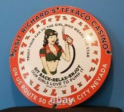 Signe Vintage De Pompe De Station D'essence De Station D'essence De Casino De Porcelaine De Texaco