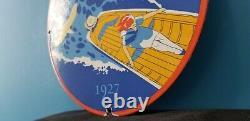 Signe Vintage De Pompe De Station D'service De Bateau De Bateau De Porcelaine D'essence D'essence