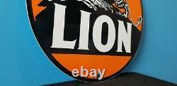 Signe Vintage De Station D'service Automatique D'huile À Moteur De Porcelaine De Lion De Porcelaine De Lion