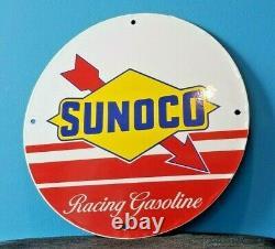 Signe Vintage De Support De Plaque De Plaque De Pompe De Station-service De Porcelaine De Sunoco D'essence