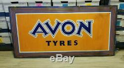 Station Service Vintage Porcelain Sign Avon Tyres Pneus Gaz Homme Des Cavernes Rare