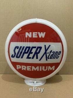 Super X-tane De Pompe À Gaz Globe Lumière Vintage Lentille En Verre Station Service Garage