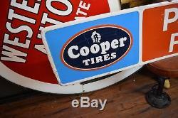 Tin Cooper Pneus Signe 6' Embossé Service Garage Publicité Station Oil