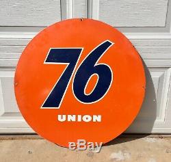 Union 76 Vintage 30 Double Face Station Service Oil Gas Daté 1961 Inscription