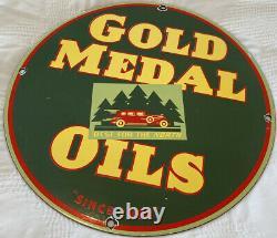 Vieille Médaille D'or Huile De Moteur Porcelaine Panneau De Service Station D'essence Plaque De Pompe
