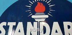 Vieille Norme Essence Porcelaine Essence Essence Fuels Station Service Torche Signe