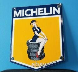Vieilles Pneus Michelin Bibendum Porcelaine Gaz Auto Mécanique Service Station Signe