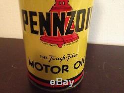 Vintage 1 Qt Pennzoil Huile Moteur Tin Can Service Station Gaz 3 Owl Family Graphic