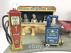 Vintage 1930 Service De Tin Litho Marx Roadside Rest Station Oil Tin Litho