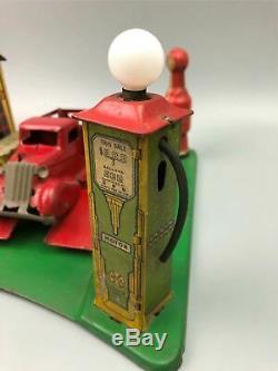 Vintage 1930 Tin Litho Marx Station Service Roadside Rest Oil Gas