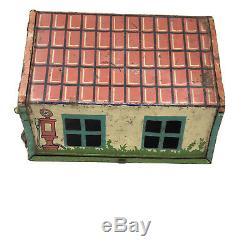 Vintage 1938 Deux Voitures Garage Tin Litho Station Service Gas Wyandotte Toys # 501