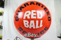 Vintage 1960 De L'atlantique Gasoil Station Service Rouge Ball Illuminez Signe Globe