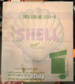 Vintage 1960 Nos Shell Service Station Pompe À Gaz Huile Moteur Decal Inutilisé
