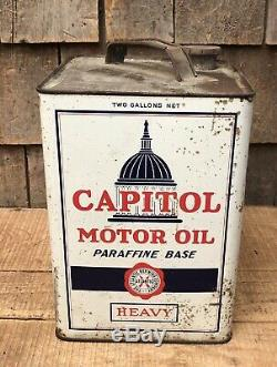 Vintage 2 Gallon Atlantic Service Capitol Motor Oil Station Tin Can Sign