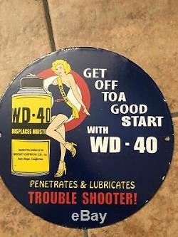 Vintage-40 Huile Wd Gaz Porcelaine Lube Pin Service Fille Station De Pompage Connexion Plaque