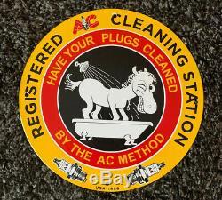 Vintage Ac Bougies Porcelaine Station Service Signe Pompe À Huile Plate Rare! Nr