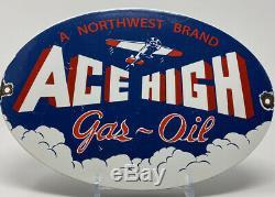 Vintage Ace High Gas & Oil Porcelaine Signe Essence Station Service Plate Pompe